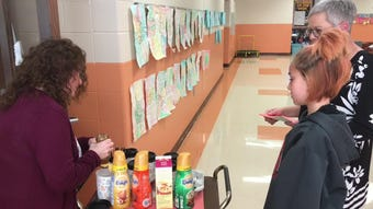Students of Kathleen Laughlin at Coshocton Elementary School learned job and communication skill through a new coffee cart project his past school year.