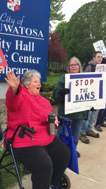 At least 23 #StopTheBans supporters rallied on May 21. The stood on the corner of 67th Street and North Avenue to oppose several states laws aimed at restricting access to abortions.