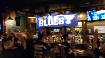 Blues fans celebrate at Falstaff's after clinching the Western Conference Final with a 5-1 win over the San Jose Sharks.