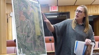 A consultant with Groundwork Studio goes over some of the details of a recreation development plan for Moon mountain during an earlier meeting.