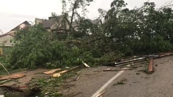 Jackson Street in Jefferson City, Missouri, suffered significant damage from a tornado that struck late Wednesday night, May 22, 2019.