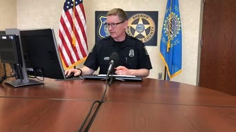 Police spokesman Sam Clemens goes over the call log during the May 23, 2019, briefing.