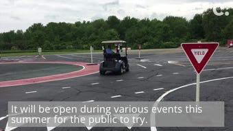 Learn roundabout etiquette stress free on Blue Ash's new golf cart roundabout test track.