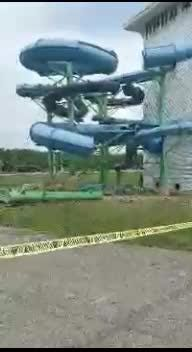 The outdoor slides were removed at the lodge as part of its $21 million renovation.