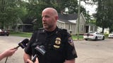 Evansville Police spokesman Sgt. Jason Cullum discusses an assault that occurred at a home in the 700 block of Taylor Avenue in Evansville Thursday.