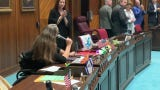 Arizona state Rep. Jennifer Longdon, who uses a wheelchair, tells her colleagues in the House about her experience getting home after a late-night session in the Legislature on May 24, 2019.