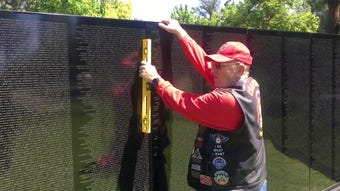 Volunteers gathered at Rancho Tapo Community Park in Simi Valley to erect a mobile Vietnam Memorial Wall for the Memorial Day weekend.