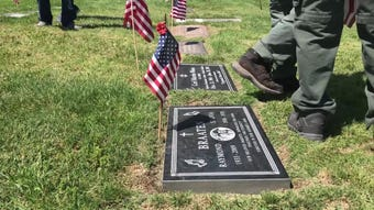 See how Boy Scouts placed flags on the graves of veterans at  Pierce Brothers Valley Oaks Memorial Park in Westlake Village.