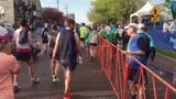 The start of the Vermont City Marathon on Sunday, May 26, 2019, was delayed when officials evacuated the the runners due to a storm.