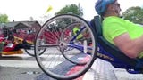 This slow-motion video captures the hand-cyclists starting their 26.2 miles of the Vermont City Marathon on Sunday, May 26, 2019.