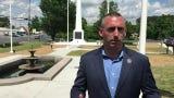 Salisbury Mayor Jake Day talks about the 1955 War Memorial restoration following a ribbon cutting on Monday, May 27, 2019.