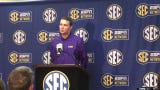 LSU basketball coach Will Wade talks with reporters at the SEC spring meetings.