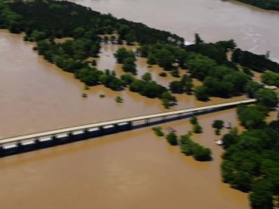 Aerial view of Arkansas River flooding