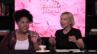 Kirby Adams leads the way in a taste test of Graeter's newest flavor of ice cream, Amaretto Crunch.
