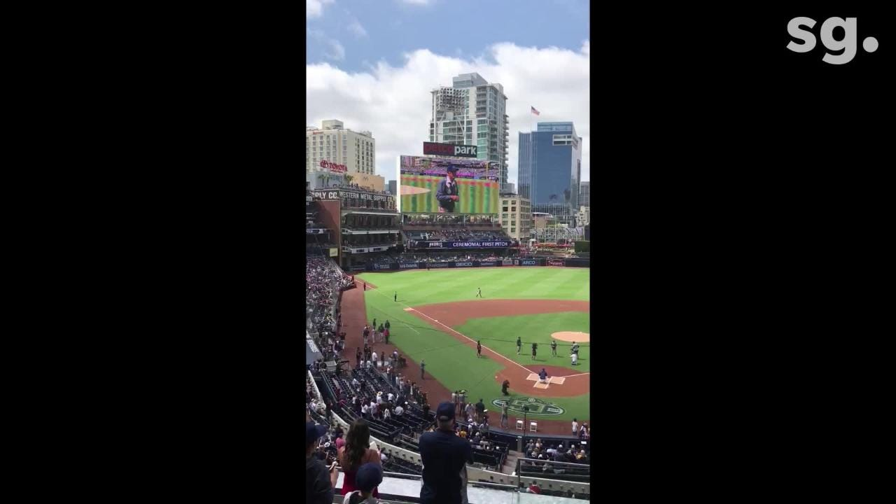 Elmira native, D Day Veteran throws first pitch at Padres game