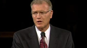"""H. Bruce Stucki gives a talk titled, """"The Faith of a Sparrow: Faith and Trust in the Lord Jesus Christ,"""" during General Conference in 1999."""