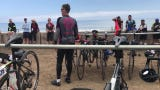 Participants in the AIDS LifeCycle stopped in Ventura County during a fundraising ride from San Francisco to L.A.
