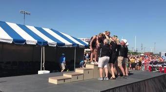 The Eden Valley-Watkins/Kimball girls 3,200-meter relay team of Brookelyn Kuechle, Amaya Lyrek, Cailyn Kuechle and Ellie Kuechle finish 7th at state.