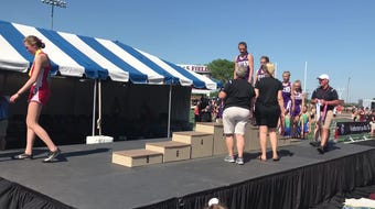 The Albany girls 3,200-meter relay team of Megan Koglin, Kristine Kalthoff, Olivia Goebel and Rachel Neu placed third in a school-record time of 9:29.85