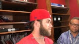Phillies Bryce Harper on getting thrown out stealing home, and Aaron Nola on his performance.