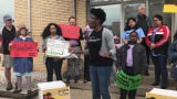 Marybeth Onyeukwu, of Color of Change, speaks at rally in Elizabeth on June 11, 2019 calling for the release of a Somali immigrant detained by ICE for 18 months.