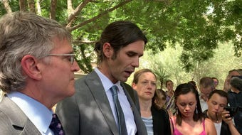 No More Deaths volunteer Scott Warren talked to reporters on June 11, 2019, after a jury deadlocked on charges against him.