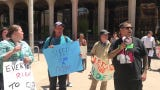 """A group gathered in downtown Phoenix Wednesday to march in support of homeless rights chanting phrases like """"sleeping is a human right."""""""