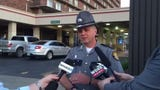 Kentucky State Police Trooper Scotty Sharp talked with reporters Thursday evening following the arrest of a man police say tried to hit troopers.
