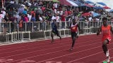 Finish of the boys 4x100 relay at the River Cities Youth and Open Classic