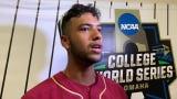FSU second baseman Nander De Sedas talks win over Arkansas in CWS