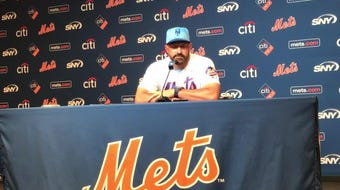 Manager Mickey Callaway talks to the media after the Mets loss to the Cardinals on Sunday.
