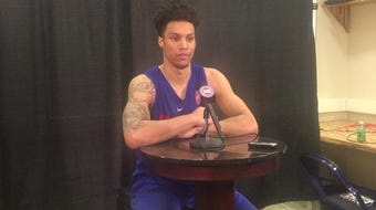 Gonzaga forward Brandon Clarke speaks to the media after his predraft workout with the Detroit Pistons on June 17, 2019, in Auburn Hills.