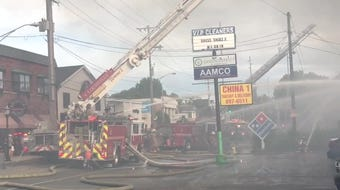 The area was filled with smoke near the Simply Mac store and Domino's Pizza.