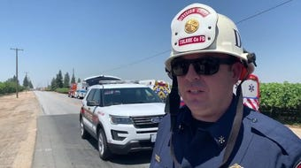 Tulare County Hazmat team is on the scene of a pesticide spill at Avenue 408 and Road 56.