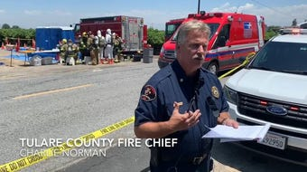 Fire Chief Charlie Norman said the south side of a Tulare County grape vineyard was being sprayed when wind pushed the chemical north, toward workers.