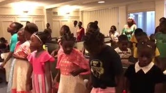 The Swahili Children's Choir of refugee kids performs during a service at First Baptist Church in downtown Tallahassee Sunday, June 16, 2019.