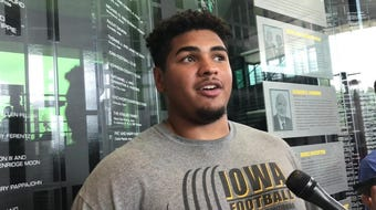 Iowa offensive tackle Tristan Wirfs goes against A.J. Epenesa in practice, and both of them benefit. Hear him explain: