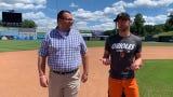 Delmarvanow Reporter Ricky Pollitt talks to Shorebirds Pitcher Drew Rom around the bases.