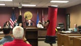 """Edward """"Lefty"""" Grimes of East Hanover and Michael Vintzileos of Point Pleasant play pro-medical pot song at Freehold Borough Council meeting"""