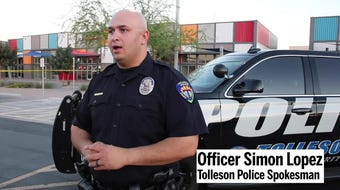 Officer Simon Lopez speaks about a teenager accused of shooting three men in a barbershop across the street from the Tolleson Police Department.