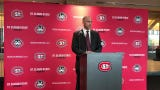 Steven Macdonald speaks at a press conference Friday at the Husky Den where he was officially named St. Cloud State's new head women's hockey coach.
