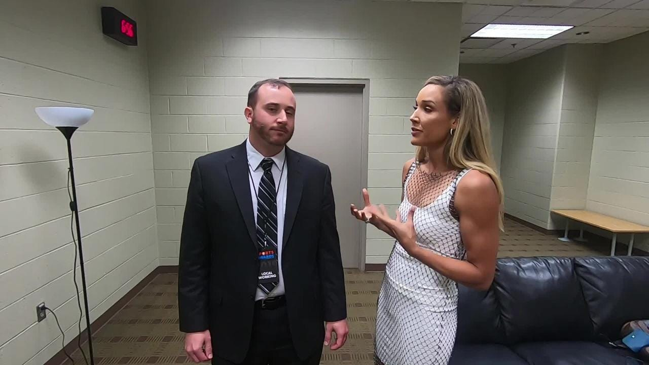 Lolo Jones takes questions before the Des Moines Register Sports Awards