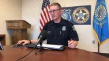 Sioux Falls police spokesman Sam Clemens goes over the call log during Monday's briefing.