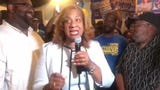 Shawyn Patterson-Howard speaks to supporters as she leads in Democratic primary for Mount Vernon mayor, June 25, 2019.