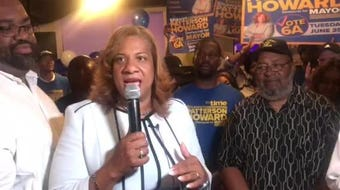 Shawyn Patterson-Howard addresses supporters on primary night as she leads in the Mount Vernon mayoral race