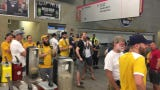 Nashville SC fans chant during lightning delay. It was the second delay to occur on the night.