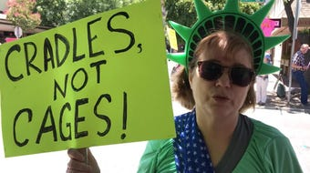 Visalia Schoolteacher Beth Perry  protests what she sees as unacceptable conditions and family separations at U.S.-Mexico border on July 2, 2019.
