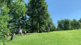 Golfers tee off on the sixth hole at Williston Golf Club during a qualifier for the 2019 Vermont Amateur.