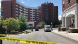 The scene following a utilities explosion at the University of Nevada, Reno's dorms.