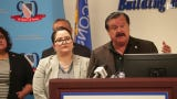 LULAC President Domingo Garcia and Chief Executive Officer Sindy Benavides talk immigration issues, President Trump during a press event in Milwaukee.